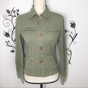 Tulle Anthropologie jacket fitted green sz medium